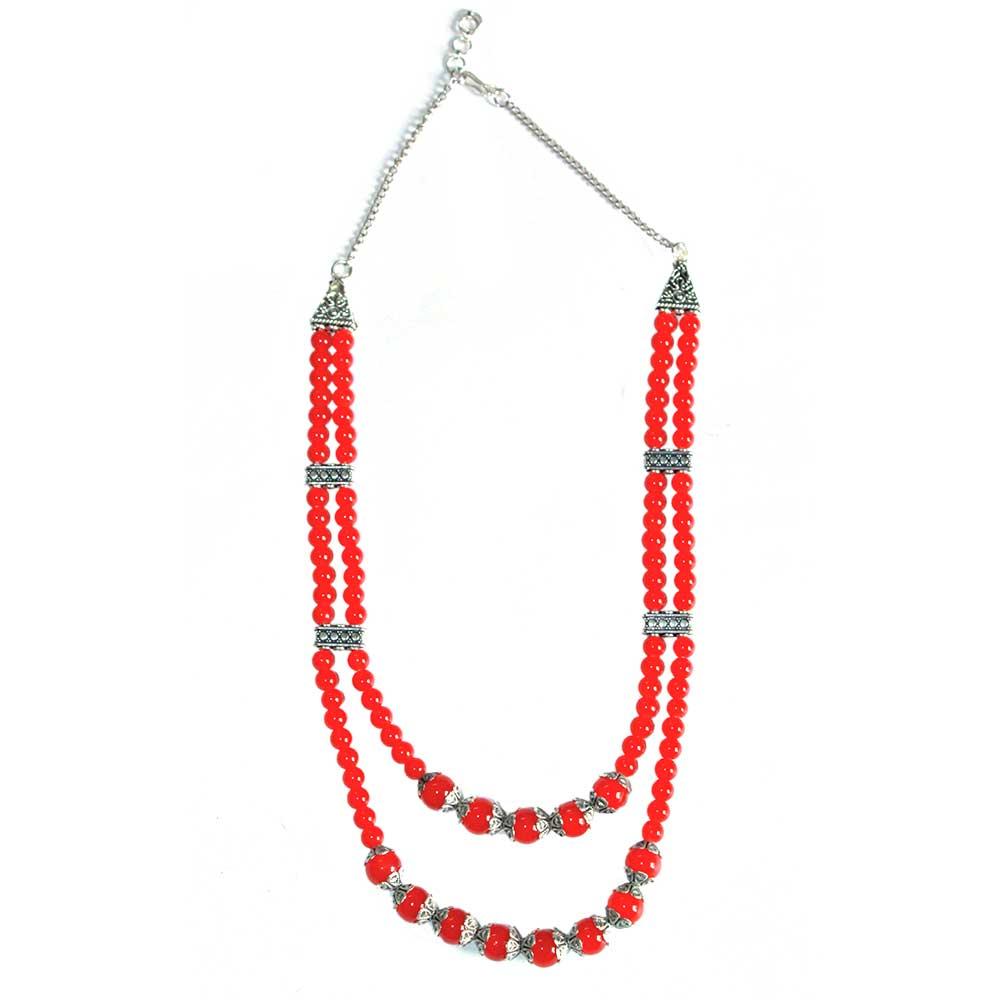 Handmade Red Color German Silver Pendant  Jewellery Set