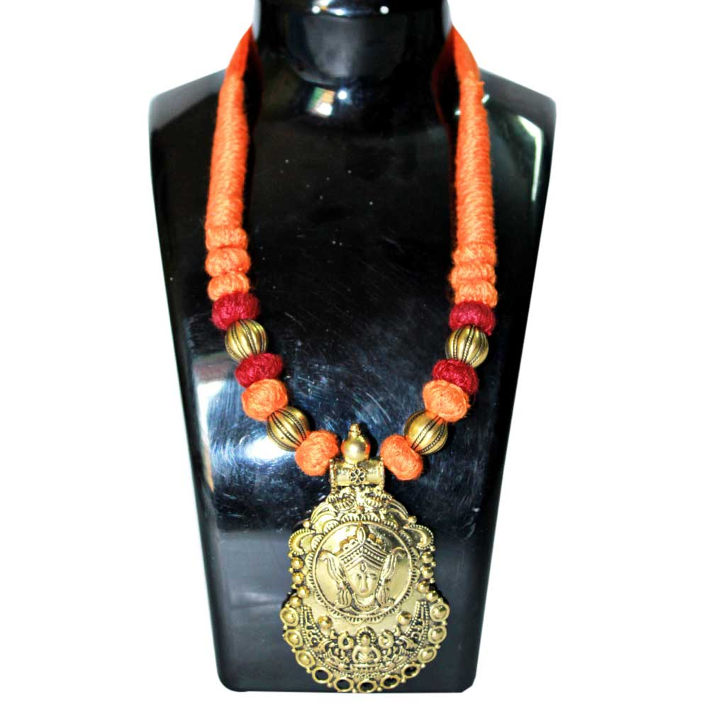 Handmade Orange Brown Color German Silver Pendant  Jewellery Set