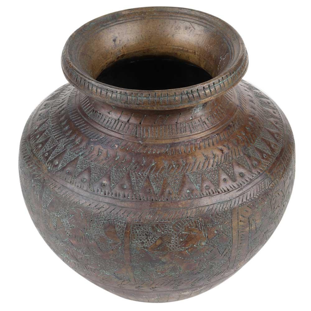 Engraved Brass Hindu Gods Pooja Holy Water Pot