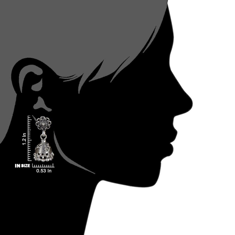 92.5 Sterling Silver Flower Jhumkis Silver Chandelier Earrings