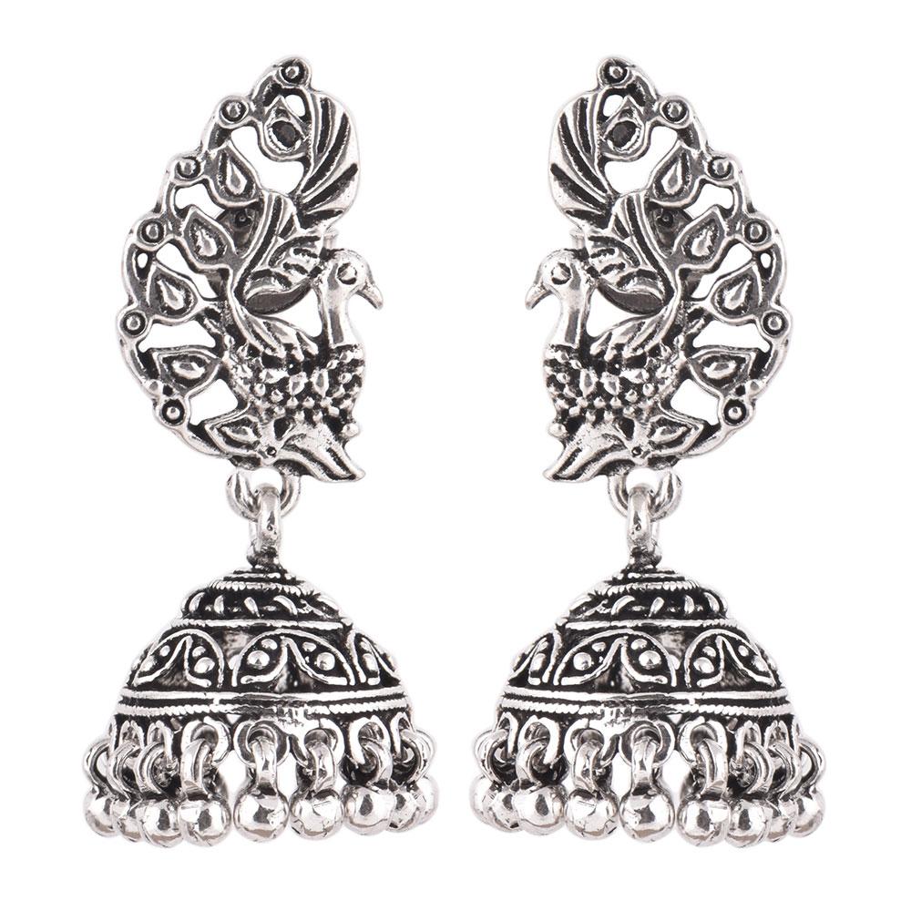 92.5 Sterling Silver Earrings Peacock Tribal Bell Dangle jhumkis