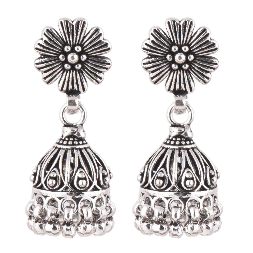 92.5 Sterling Silver Earrings Oxidized Flower Stud Tribal Jhumka/Jhumki With Silver Beads