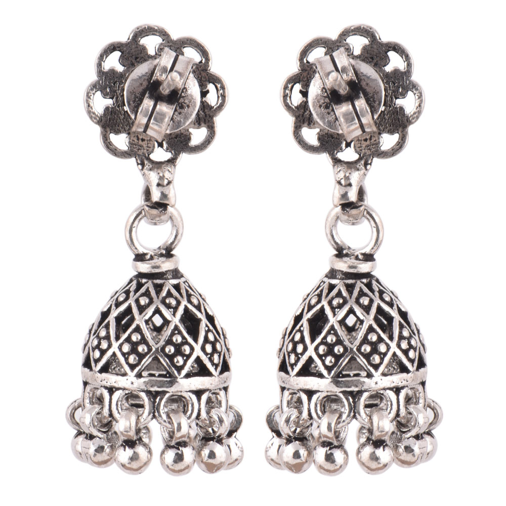 92.5  Sterling Silver Earrings Floral Jali Design Jhumkis