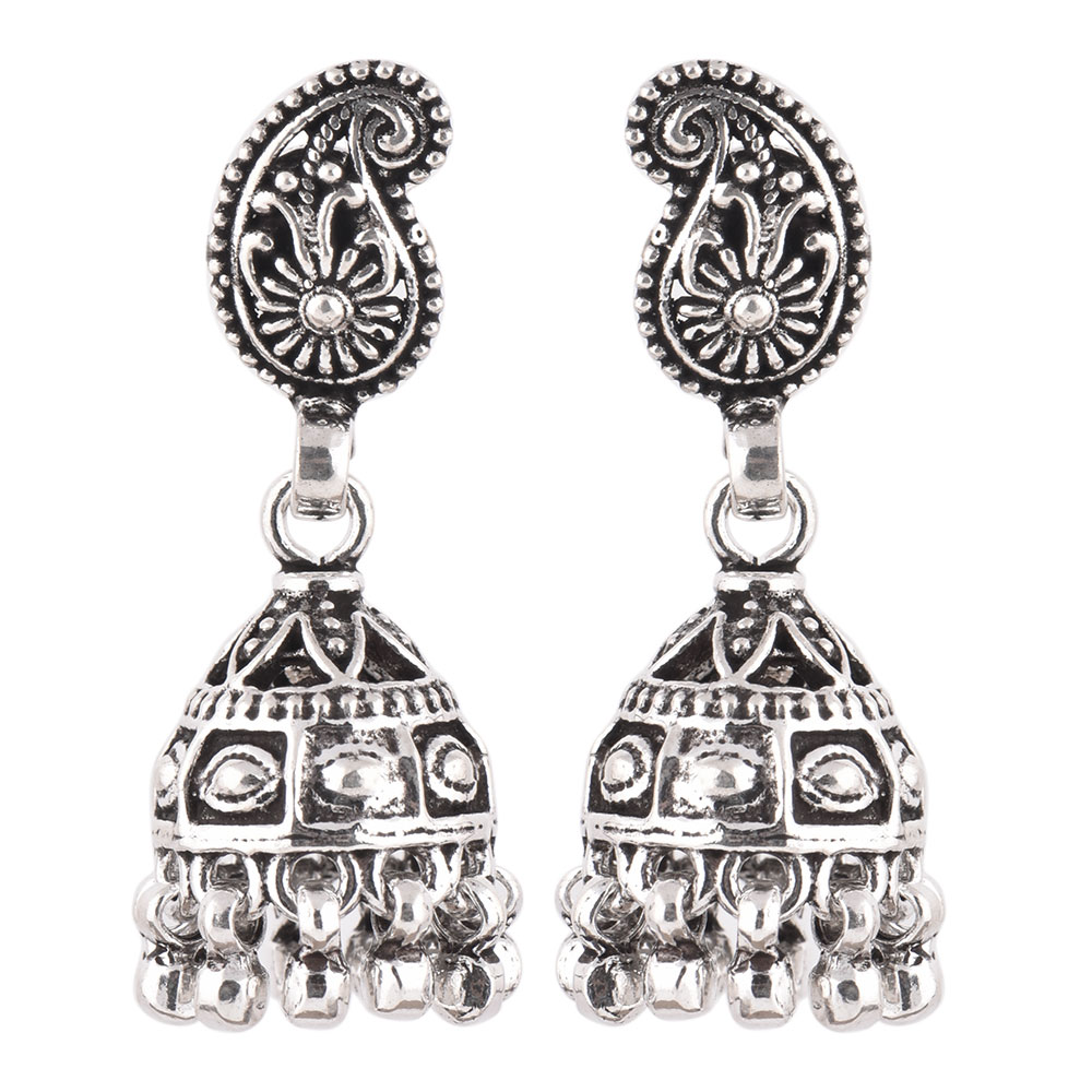 92.5 Sterling Silver Earrings Tribal Engraved Paisley Jhumkis