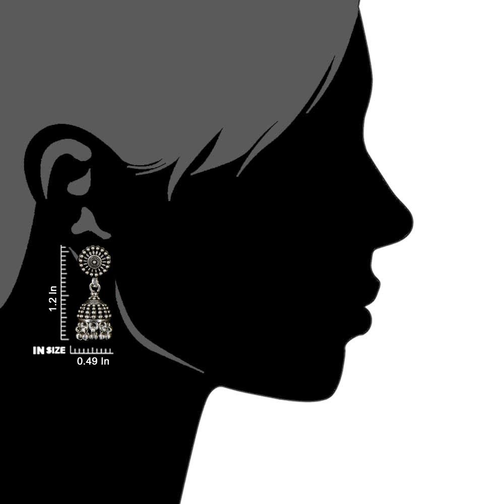 92.5 Sterling Silver Earrings Engraved Design Long Jhumkis