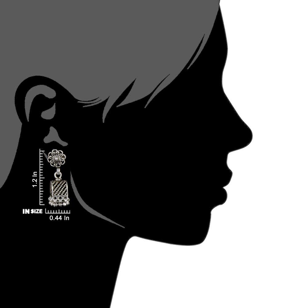 92.5 Sterling Silver Earrings Semi Circle Black Embossed Dotted Jhumki