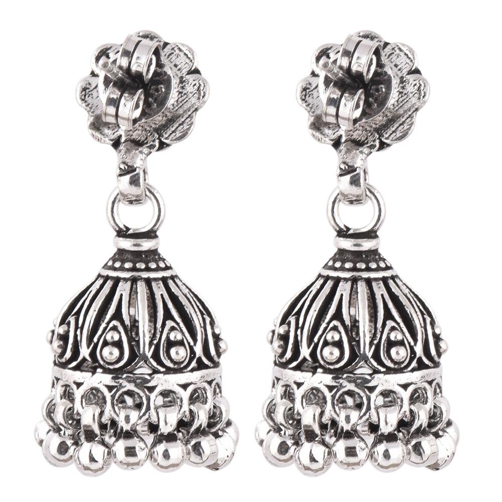 92.5 Sterling Traditional Floral Stud Earrings Jhumkis