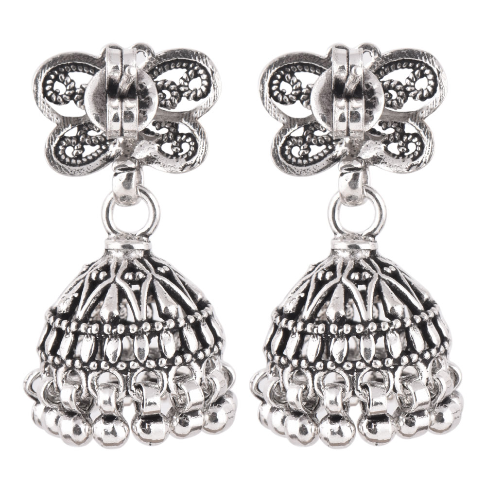 92.5 Sterling Silver Earrings Butterfly Stud Jhumkis Party Wear