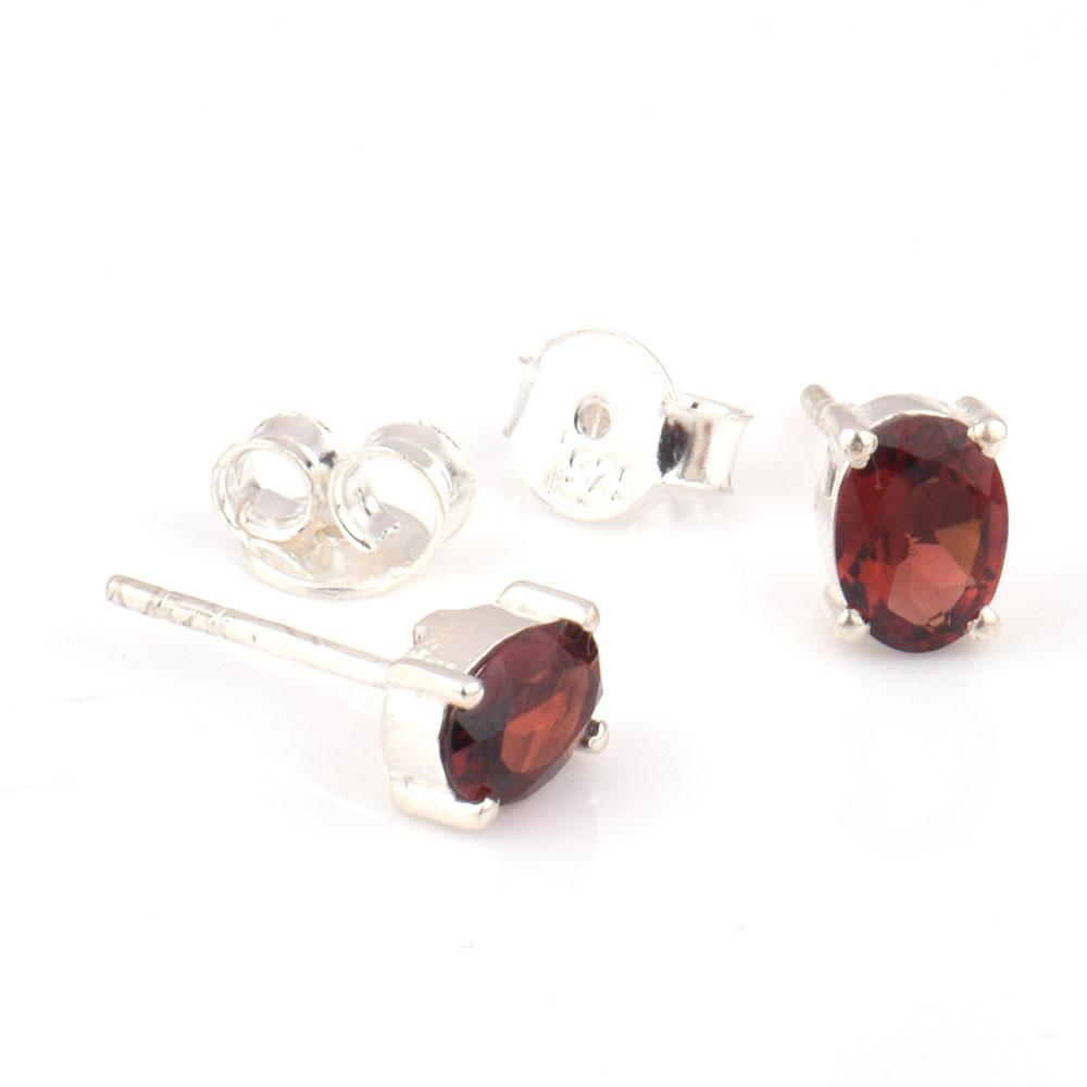 92.5 Sterling Silver Earrings Garnet Semi Precious Gemstone Stud Earrings