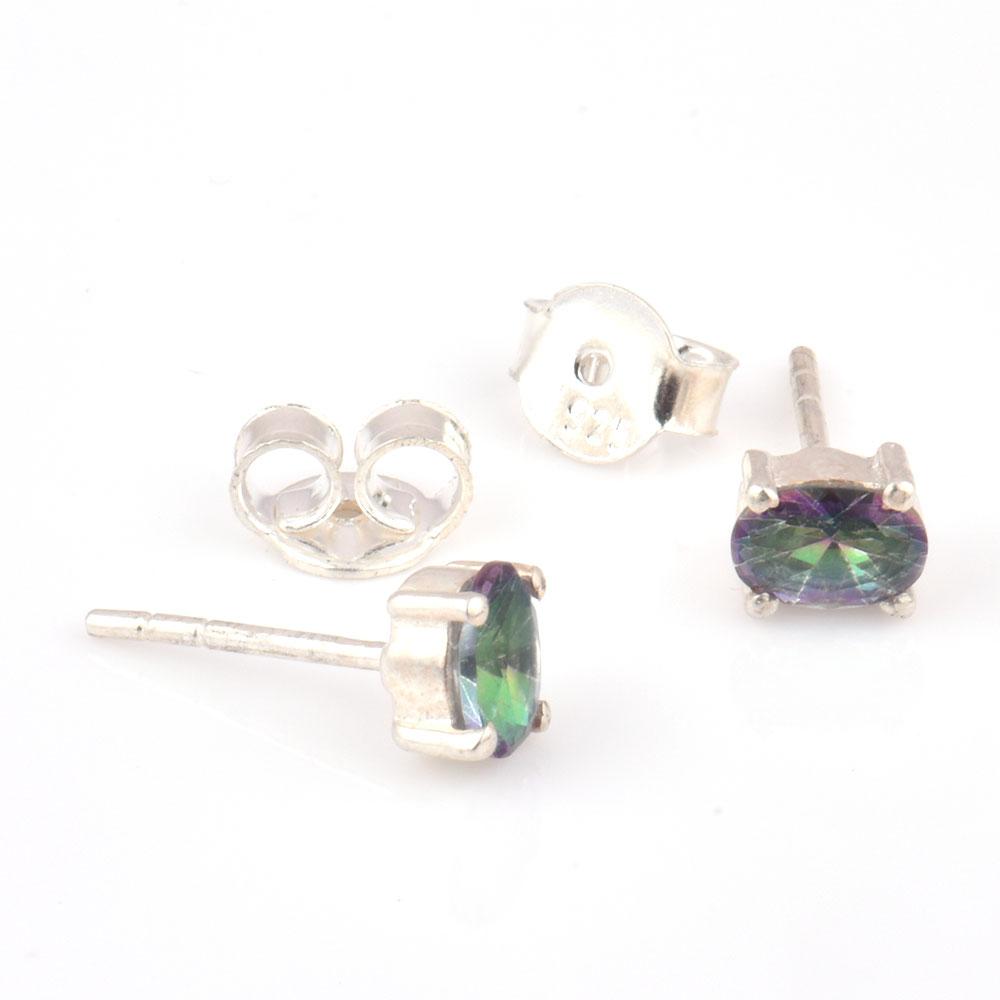 92.5 Sterling Silver Earrings  Mystic Topaz Gemstone Stud Earrings