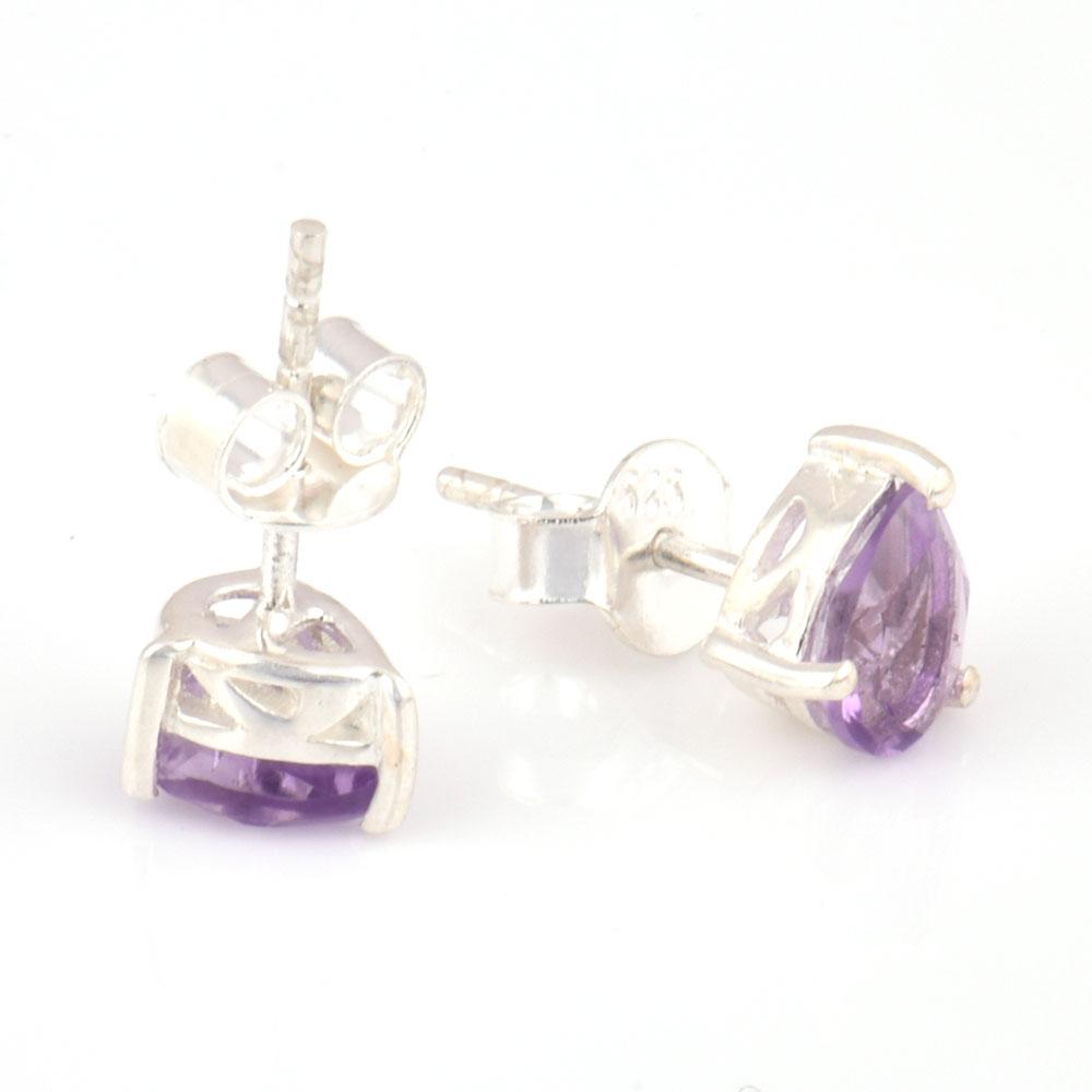 92.5 Sterling Silver Earrings  Amethyst Cut Stone Gemstone Stud Earrings