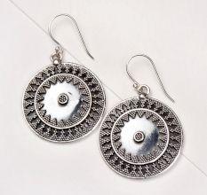 92.5 Sterling Silver Earrings Round Engraved Oxidized Dangler Earrings