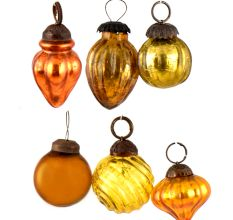 Set of 6 Handmade Yellow Golden Mini Christmas Ornaments In Assorted Styles