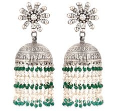 92.5 Sterling Silver Earrings  Big Sunflower Stud Jhumkis With Green onyx Beads Tassels