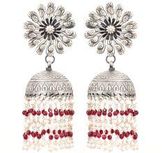 92.5 Sterling Silver Earrings Peacock Floral Stud Red Onyx Tassel Jhumkis For Women