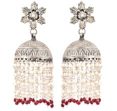 92.5 Sterling Silver Earrings Lotus Flower Jhumkis With Silver Beads And Red Onyx Beads Tassels