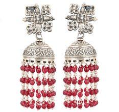 92.5 Sterling silver Earrings With Floral Stud Red Beads Tassel Chandelier Earrings