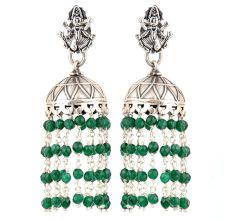 92.5 Sterling Silver Earrings Goddess Figurine Stud Jhumki Green Onyx Tassel Hangings