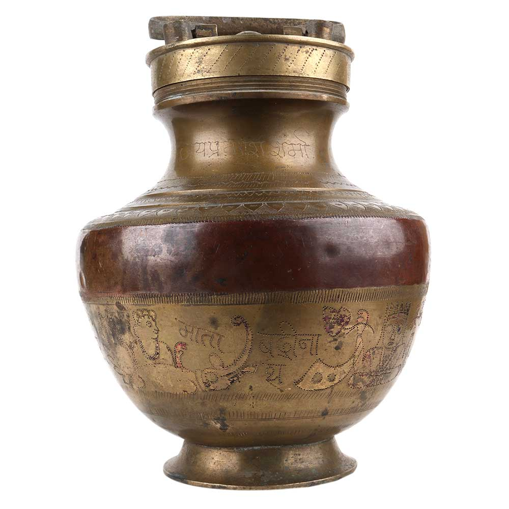 Brass And Copper Gangajal Pot With Carvings And Lid