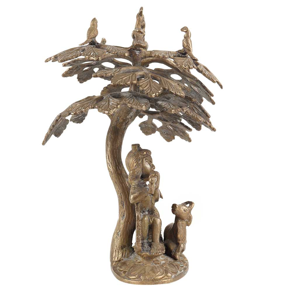 Brass Radha Krishna Sitting Under Tree with Peacock And Cow Metal Showpiece