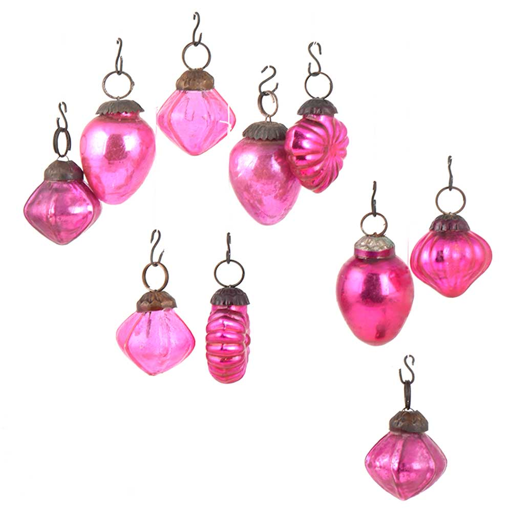 Set of 10 Handmade Pink Glass Christmas Ornaments In Assorted Styles