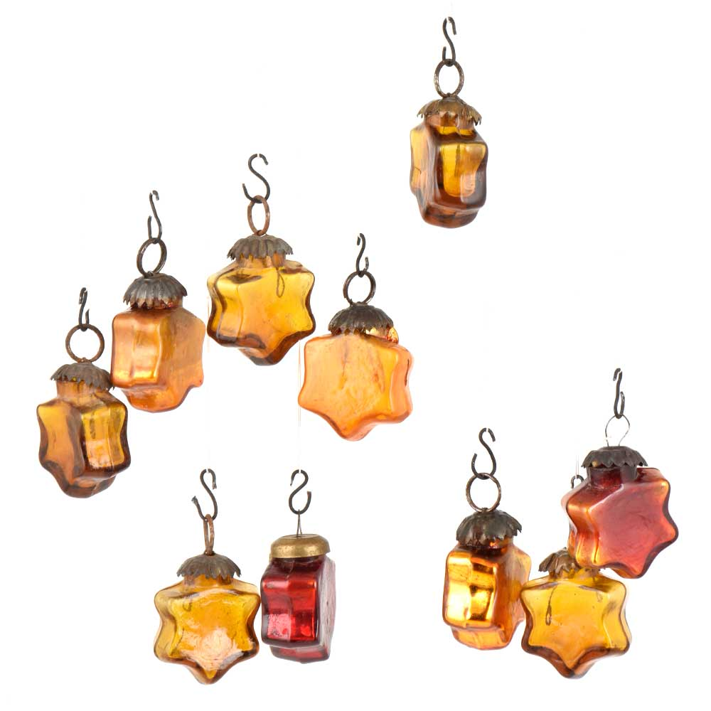 Set of 10 Handmade Sunset Yellow Colored  Glass Christmas Ornaments In Assorted Styles