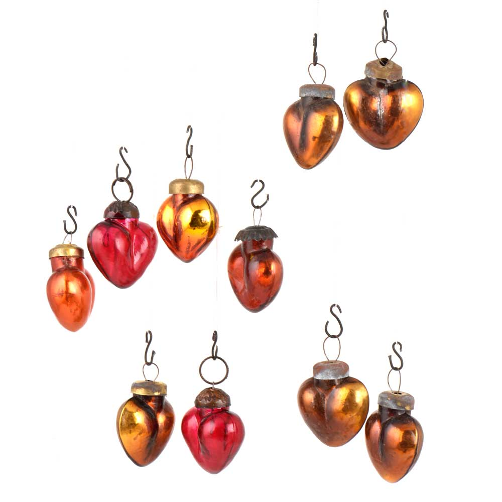 Set of 10 Handmade Golden And Red Glass Christmas Ornaments In Assorted Styles