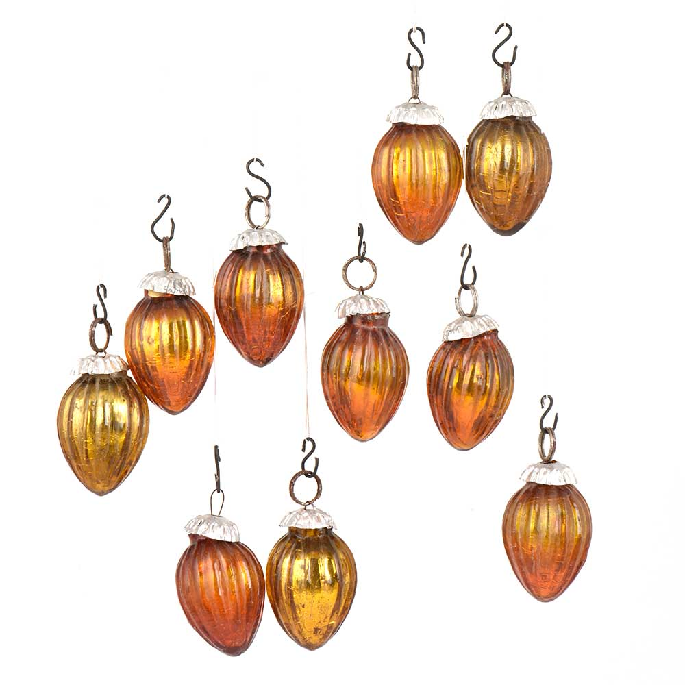 Set of 10 Handmade Rust  Glass Christmas Ornaments In Assorted Styles