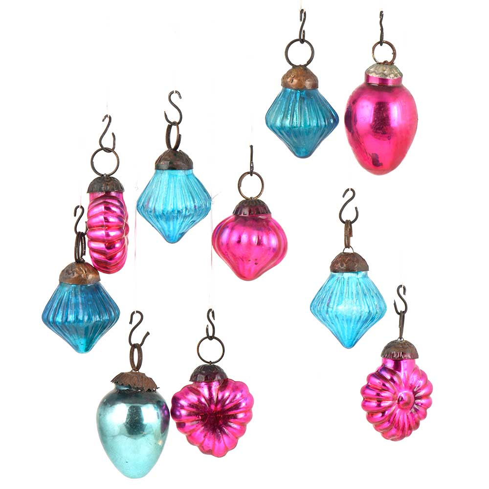 Set of 10 Handmade Pink  And Blue Glass Christmas Ornaments In Assorted Styles