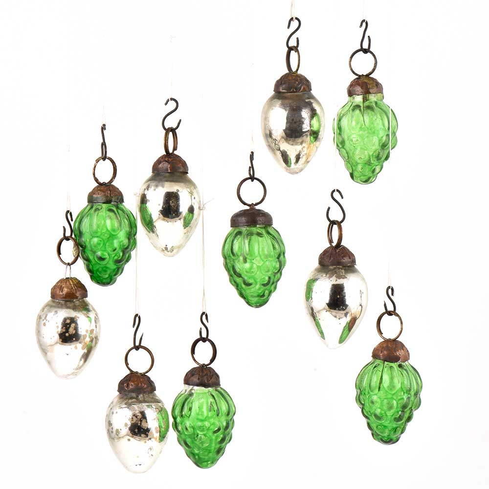 Set of 10 Handmade Green  And Silver Mini Christmas Ornaments In Assorted Styles
