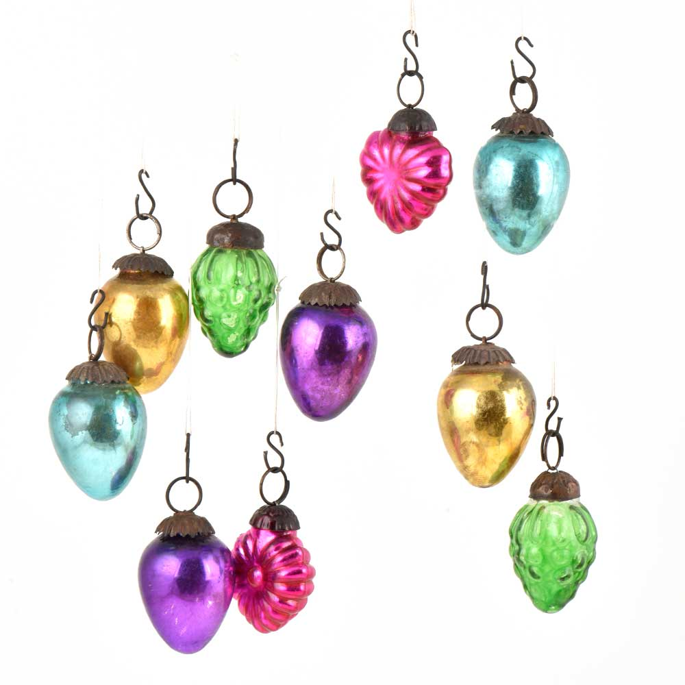 Set of 10 Handmade Colorful Mini Christmas Ornaments In Assorted Styles