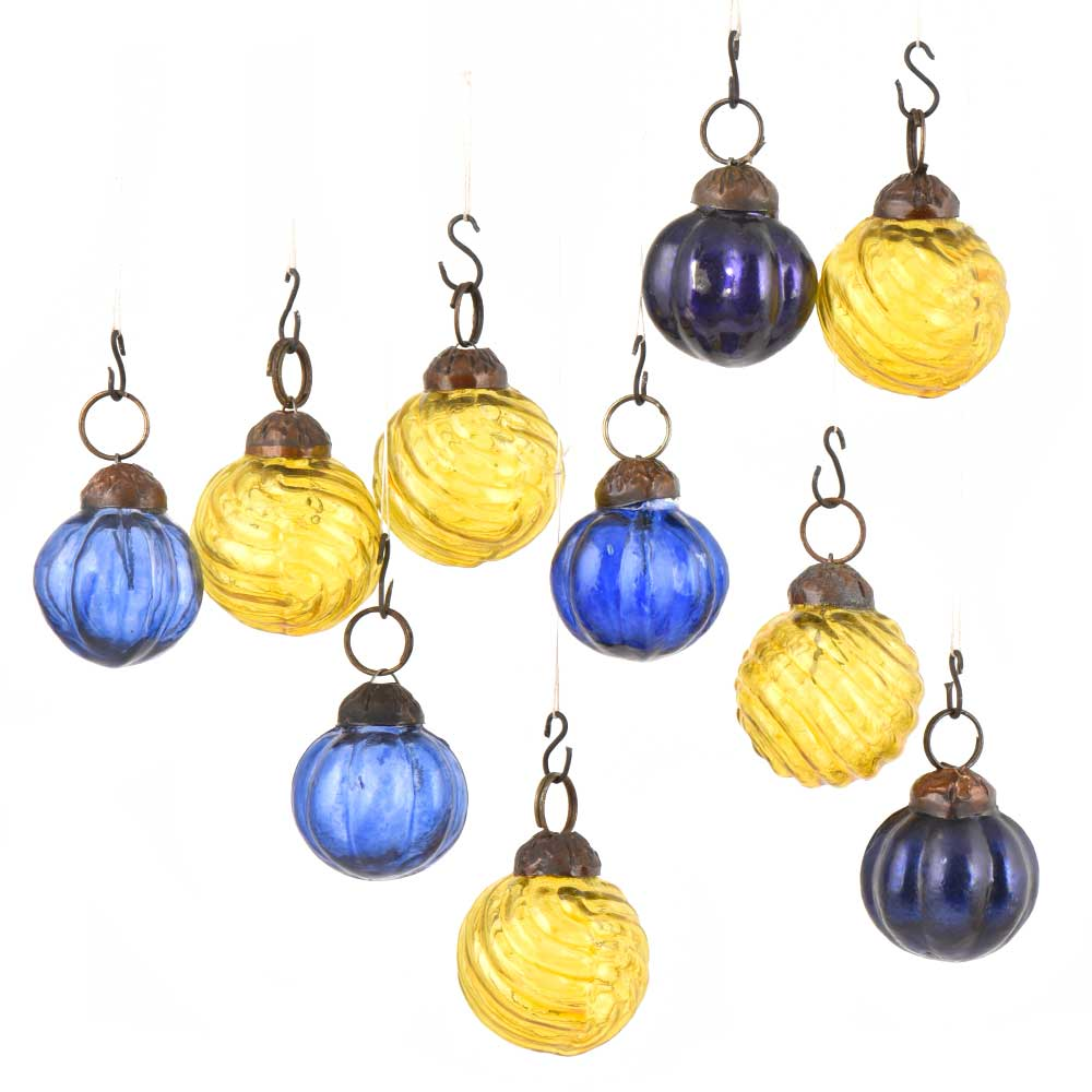 Set of 10 Handmade Yellow And Blue Mini Christmas Ornaments In Assorted Styles