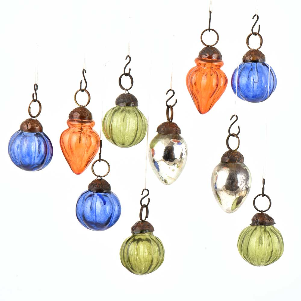 Set of 10 Handmade Olive Blue Orange And Silver Mini Christmas Ornaments In Assorted Shapes