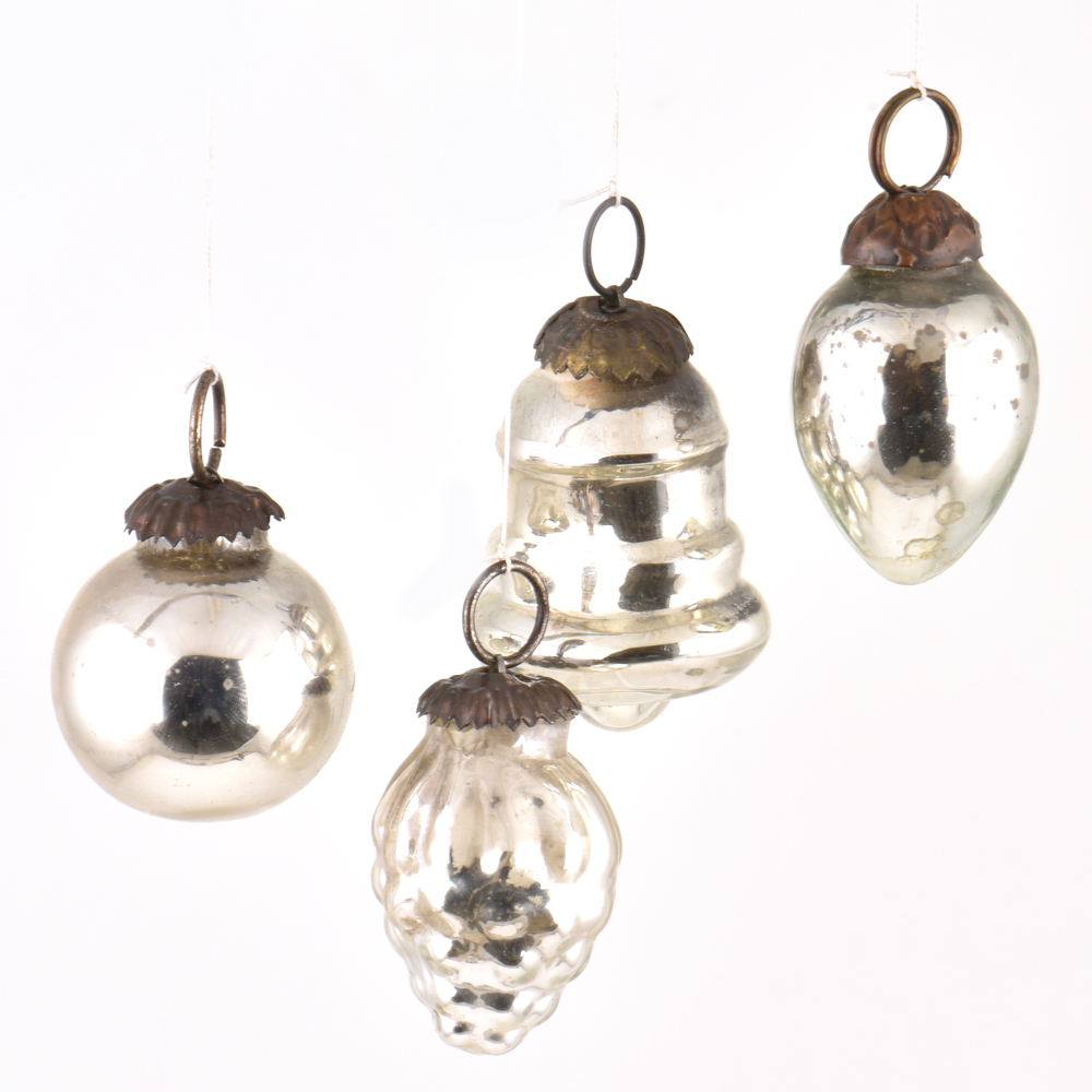 Set of 4 Handmade Silver Mini Christmas Ornaments In Assorted Styles