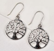 92.5 Sterling Silver Earrings Round Tree Of Life Drop Earrings