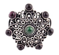 Oxidized 92.5 Sterling Silver Ring Adjustable With Onyx in centre and Amethyst Stone In Border (Free Size)