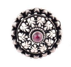 Adjustable Oxidized 92.5 Sterling Silver Ring Leaves flowers And Amethyst Stone (Free Size)