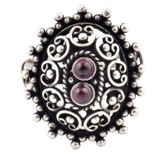 Oxidized 92.5 Sterling Silver Ring Adjustable Oval Engraved Amethyst Studded  Ring (Free Size)