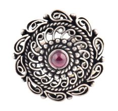 Oxidized 92.5 Sterling silver Ring Adjustable Amethyst Stone Studded  Floral and Paisley Design (Free Size)