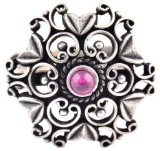 Oxidized 92.5 Sterling Silver Ring Pears and Petals Design Around Amethyst Stone (Free Size)