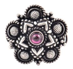 Floral Chequered 92.5 Sterling Silver Ring  Amethyst Stone Party Wear Fashion Accessory (Free Size)