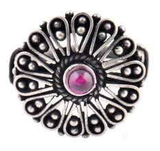 Petals 92.5 Sterling Silver Ring Amethyst Stone Floral Adjustable Design (Free Size)