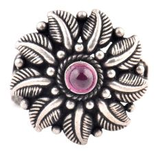 Thick Leaves 92.5 Sterling Silver  Ring Single Amethyst Floral Design Ring (Free Size)