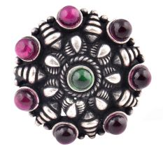 Embossed motifs 92.5 Sterling Silver Ring Round Amethyst stones Party Wear (Free Size)