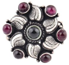 Engraved Petals 92.5 Sterling silver Ring Oxidized Adjustable Round Amethyst Stones For Girls (Free Size)