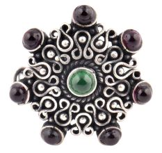 Amethyst Stone 92.5 Sterling Silver Ring Stone Studded Filigree Pattern Festive Wear For Girls (Free Size)
