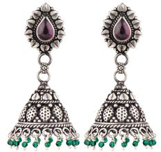 Heart Oval Amethyst 92.5 Sterling Silver Jhumka Earrings With Green Peridot Bead Hanging