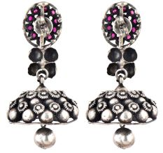 Tribal Floral Design 92.5 Sterling Silver Jhumka Earrings With Amethyst stone