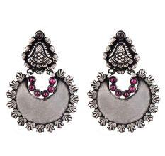 92.5 Sterling Silver Earrings Chandbali Leafy Pattern Amethyst Stone Ring Border Dangler