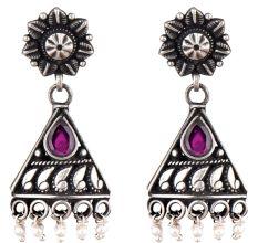 Triangular 92.5 Sterling Silver Earrings With Big Teardrop Amethyst And Pearl Bead Hangings